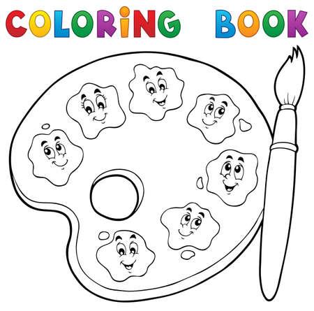 palette: Coloring book paint palette theme. Illustration