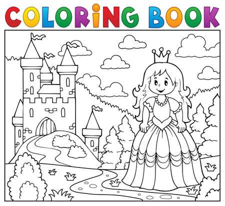 Coloring book princess.  イラスト・ベクター素材
