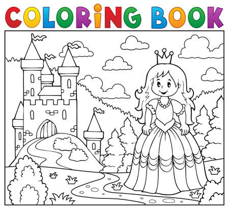Coloring book princess. Illustration
