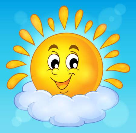 Wesoła słońce motywu obrazu. Ilustracje wektorowe