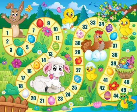 jeu: image de jeux de société avec le thème de Pâques. Illustration