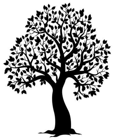 Silhouette of leafy tree theme. Vektoros illusztráció