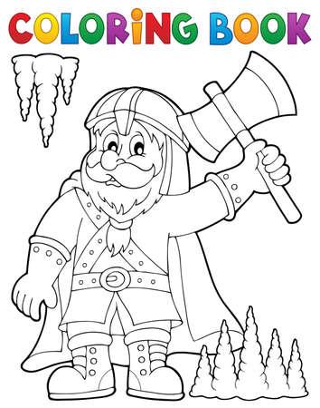 dwarf: Coloring book dwarf warrior theme. Illustration