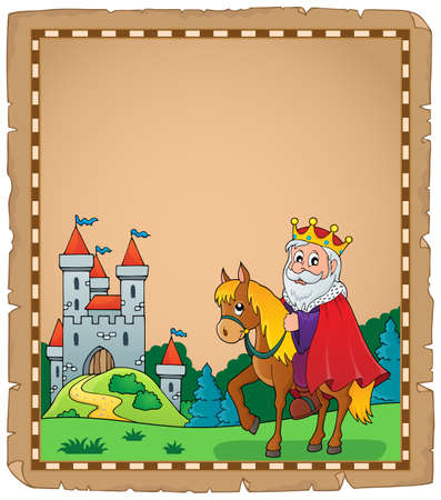 hill of the king: Parchment with king on horse theme.