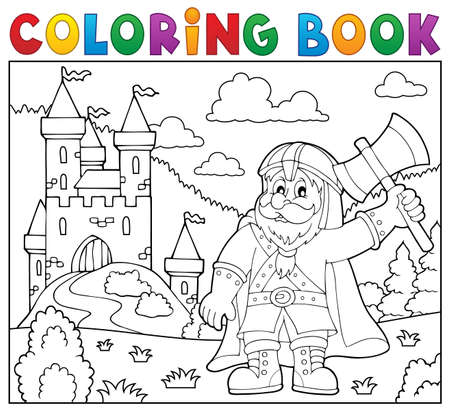 dwarf: Coloring book dwarf warrior theme