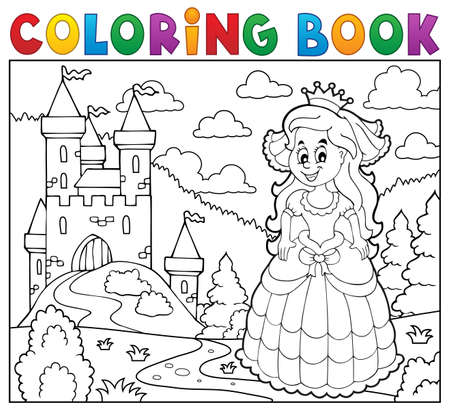 Kleurboek gelukkig prinses in de buurt van het kasteel Vector Illustratie