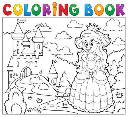 Kolorowanka szczęśliwa księżniczka w pobliżu zamku Ilustracje wektorowe