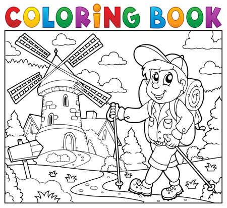 Coloriage randonneur livre près moulin