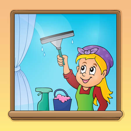 Woman cleaning window image