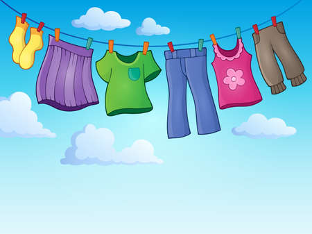 Clothes on clothing line theme image Stock Illustratie