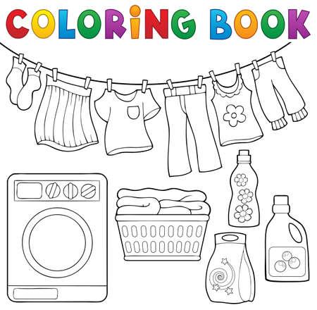 lavadora con ropa: tema libro de lavandería para colorear