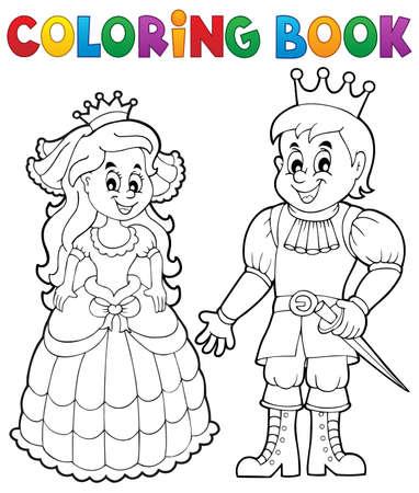 corona princesa: Colorear la princesa y el príncipe libro Vectores