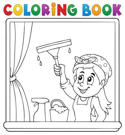 segurar: limpeza de janelas Mulher livro de colorir Ilustração