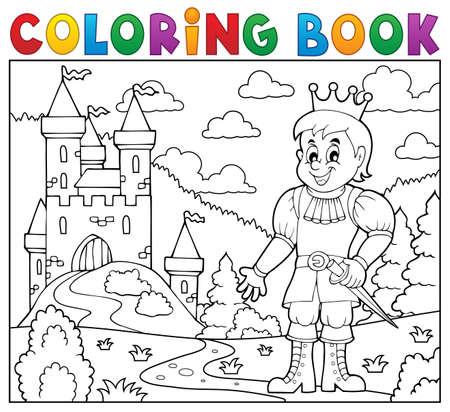 Coloring book prince near castle Illustration