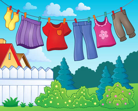 Clothes on clothing line theme image Illustration