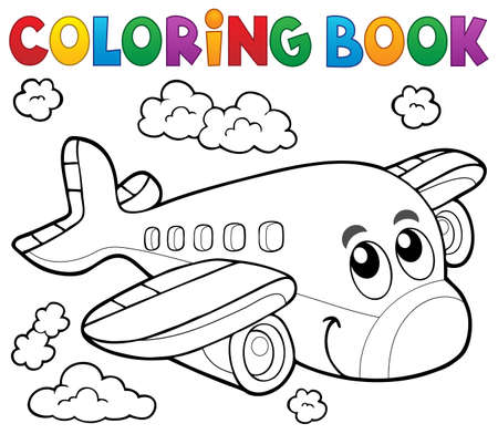 Coloring book airplane theme 版權商用圖片 - 54949222