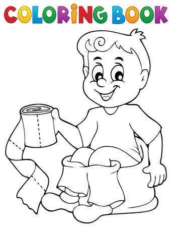 Coloring book boy on potty 向量圖像