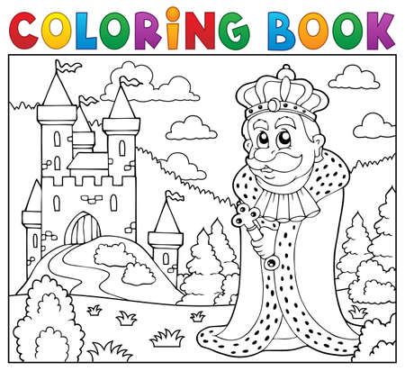 hill of the king: Coloring book king near castle
