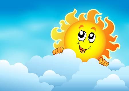 lurking: Cloudy sky with lurking sun