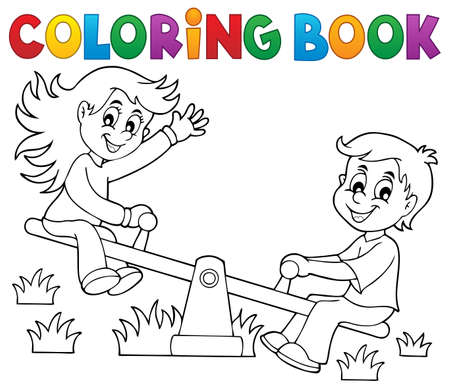 Coloring book children on seesaw theme