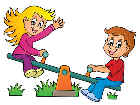 seesaw: Children on seesaw theme image