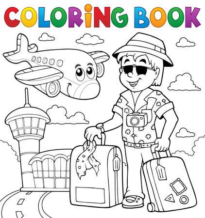 Farbowanie książka tematykę podróży Ilustracje wektorowe
