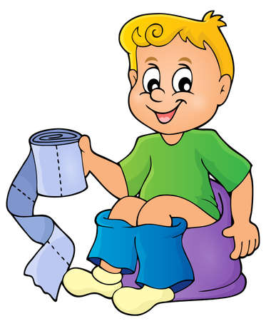 Boy on potty theme image Illustration