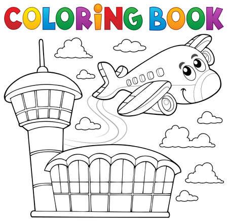 contorno: temática de aviones de libro para colorear