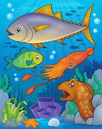 saltwater eel: Ocean fauna topic image 6 - eps10 vector illustration. Illustration