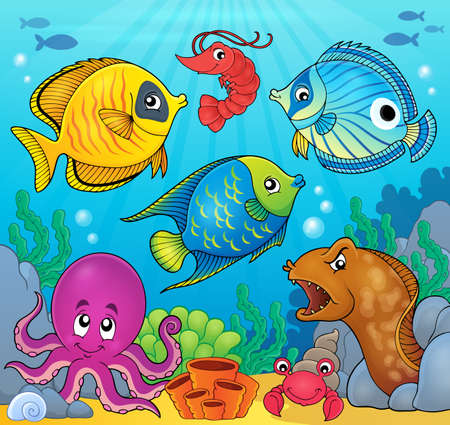 saltwater eel: Coral fauna theme image 6 - eps10 vector illustration.