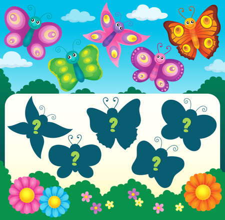 midair: Butterfly riddle theme image 3 - eps10 vector illustration.