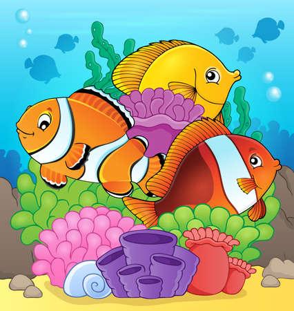 habitats: Coral reef fish theme image 7 - eps10 vector illustration.