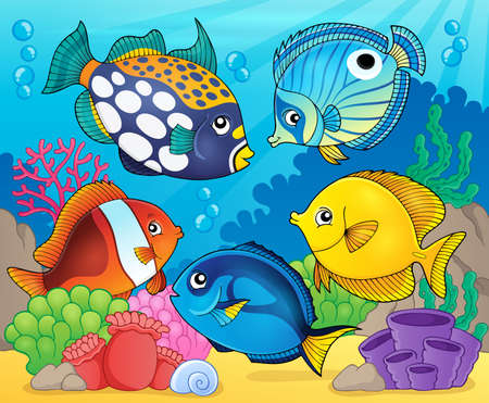 sea anemone: Coral reef fish theme image 8 - eps10 vector illustration. Illustration