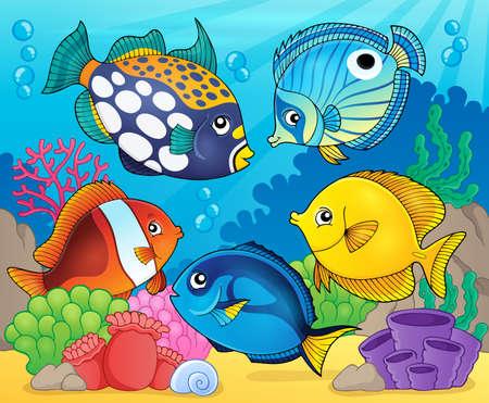 Rafa koralowa ryba motywu obrazu 8 - eps10 ilustracji wektorowych.