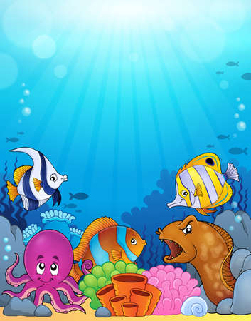 saltwater eel: Ocean underwater theme background 5 - eps10 vector illustration.
