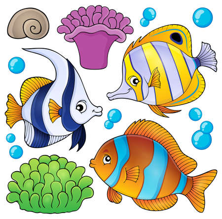 bubble sea anemone: Coral reef fish theme collection 3 - eps10 vector illustration. Illustration