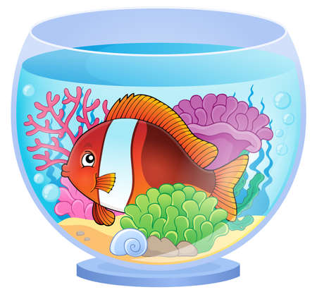 fishbowl: Aquarium topic image 6 - eps10 vector illustration. Illustration
