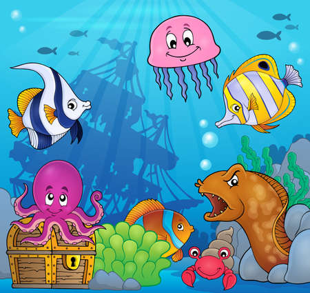moray: Underwater ocean fauna theme 8 - eps10 vector illustration.