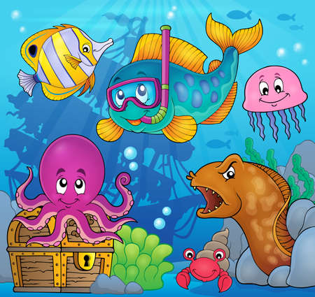 lurk: Fish snorkel diver theme image 3 - eps10 vector illustration.