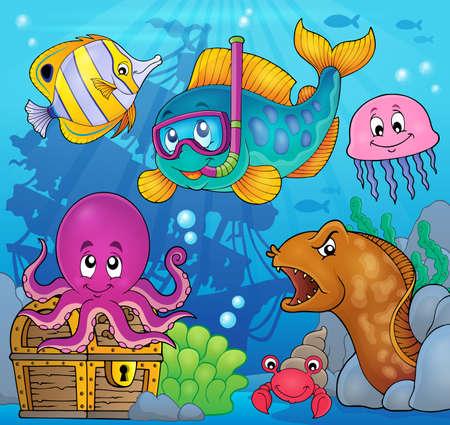 Fish snorkel diver theme image 3 - eps10 vector illustration.