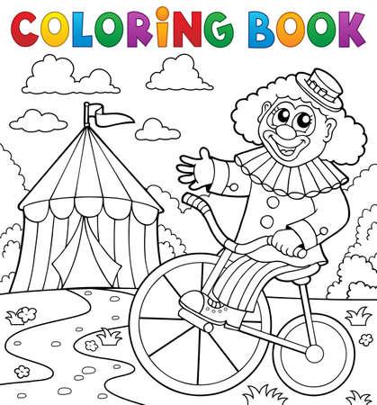 Coloring book clown near circus theme 3 - eps10 vector illustration.