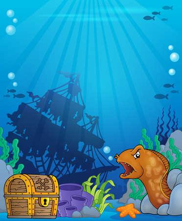 lurk: Ocean underwater theme background 6 - eps10 vector illustration. Illustration