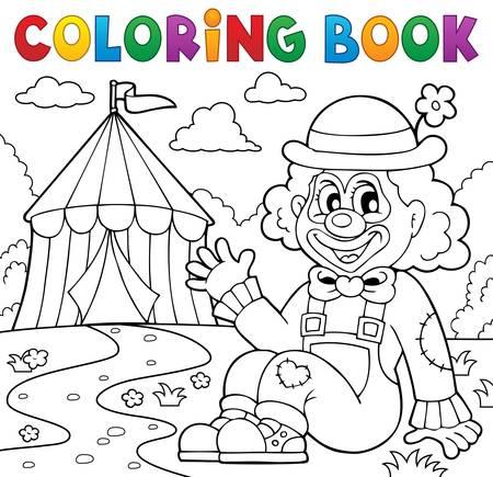 Colorear Payaso De Circo Libro Cerca De Ilustración Vectorial ...