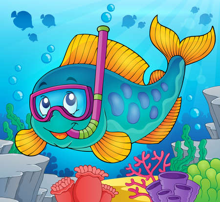 animal themes: Fish snorkel diver theme image 2 - eps10 vector illustration. Illustration