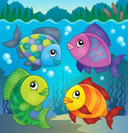 habitats: Fish topic    illustration.
