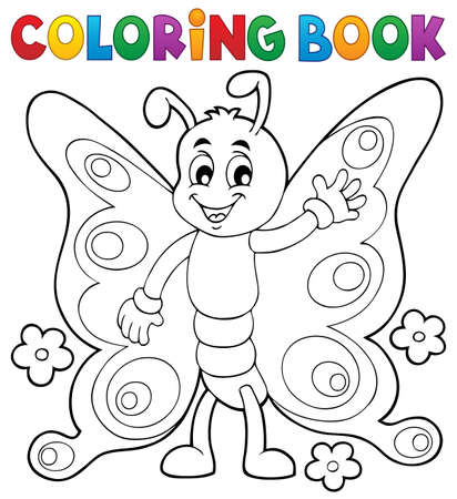 lepidoptera: Coloring book cheerful butterfly theme   vector illustration.