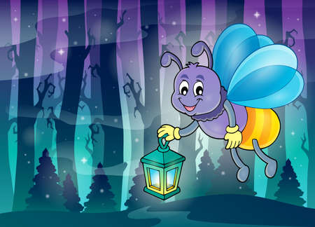 fog forest: Firefly with lantern  vector illustration.