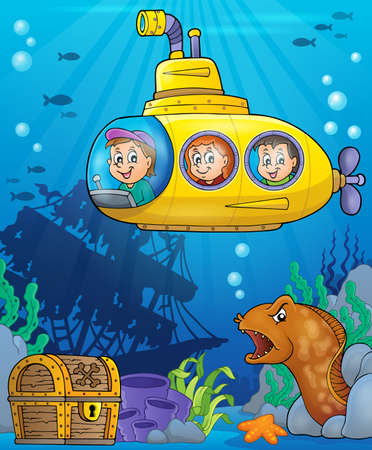 moray: Submarine theme vector illustration.
