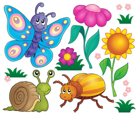 various: Spring animals and insect  vector illustration.