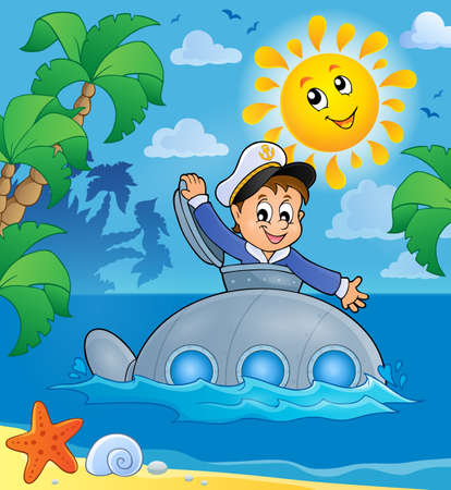 Submarine with sailor vector illustration. Illustration